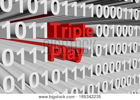 Triple play in the form of binary code, 3D illustration