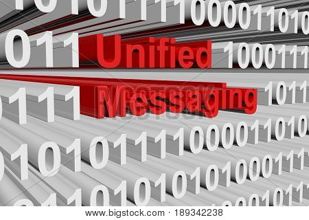 Unified messaging in the form of binary code, 3D illustration