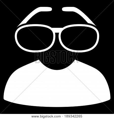 White Clever Spectacles toolbar pictogram. Vector pictograph style is a flat symbol on diagonal hatch transparent background.