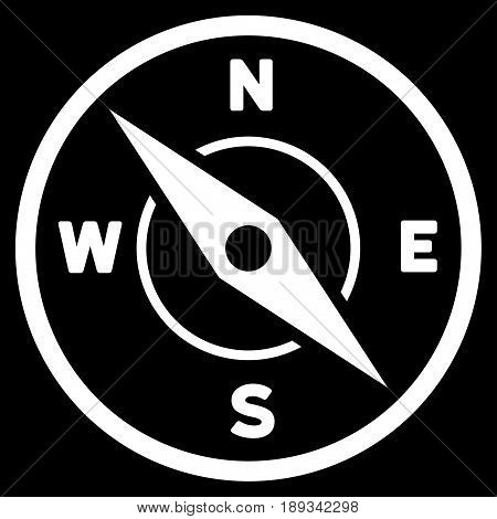 White Compass interface toolbar pictogram. Vector pictogram style is a flat symbol on diagonal hatch transparent background.