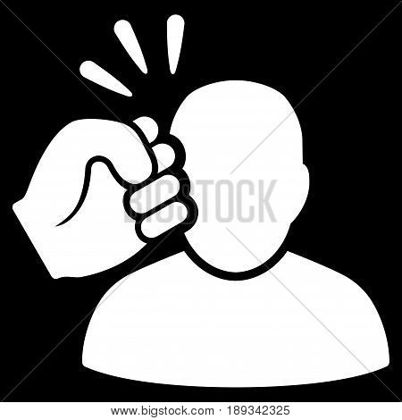 White Crime Violation Fist Strike interface toolbar pictogram. Vector pictograph style is a flat symbol on diagonal hatch transparent background.