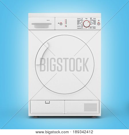 Dryer Machine Isolated  On Blue Gradient Background 3D