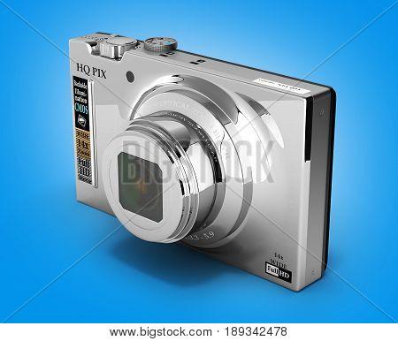 Digital Photo Camera On Gradient Background 3D