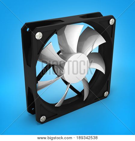 Computer Cooler Isolated On Blue Gradient Background 3D Render