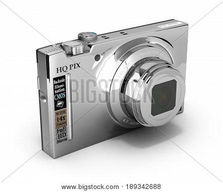 Digital Photo Camera Isolated On White Background 3D Illustration