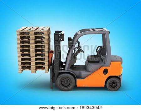 Forklift Truck Lifts The Pallets On Blue Gradient Background 3D