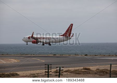 Arecife, Spain - April, 15 2017: Boeing 737 - 800 Of Corendon.com Landing At Lanzarote Airport