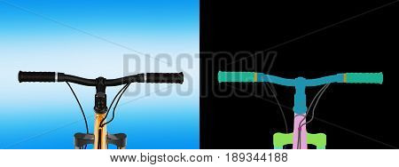 View Of The Bicycle Handlebar On Blue Gradient Background With Alpha Colour 3D Render