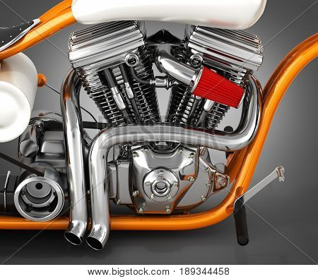 Motorcycle Engine V Twin On Grey Gradient Background 3D