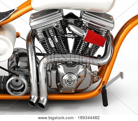 Motorcycle engine v twin on white 3d render