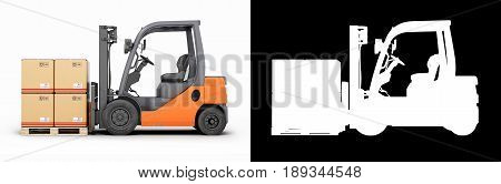 Forklift Truck With Boxes On Pallet On Blue Gradient Backround With Alpha 3D Render