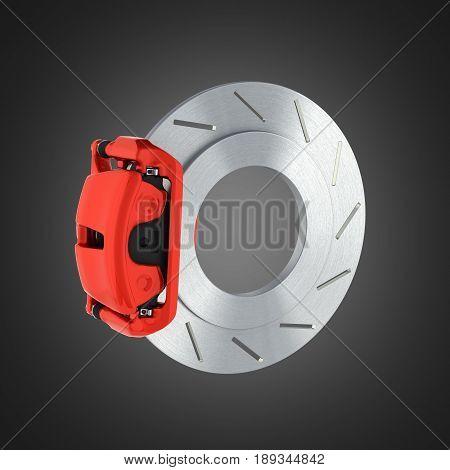 Automobile Braking System.car Part Steel Brake Disk On Black Background 3D.