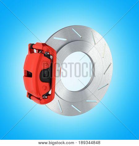 Automobile Braking System.car Part Steel Brake Disk On Blue Gradient Background 3D.