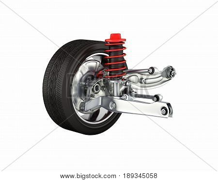 Suspension Of The Car With Wheel Without Shadow On White Background 3D