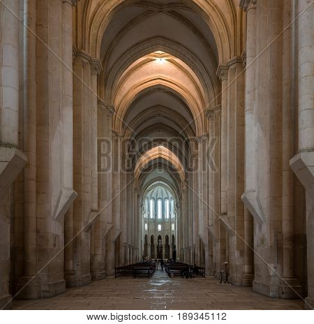 ALCOBACA,PORTUGAL - MAY 11,2017 - View at the Gothic choir inside Monastery of Alcobaca . The church and monastery were the first Gothic buildings in Portugal.