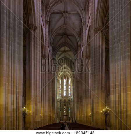 BATALHA,PORTUGAL - MAY 11,2017 - View at the choir of Monastery of Santa Maria da Vitoria in Batalha . The Batalha convent was added in 1983 by UNESCO to its list of World Heritage sites.