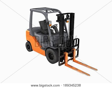 Forklift Loader Perspective View Without Shadow On White Background 3D