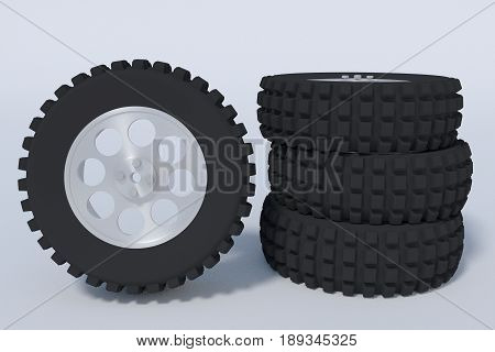 four truck tires. vehicle spare parts. 3d render 3d illustration