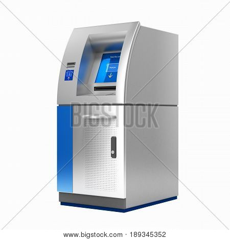 Atm Bank Cash Machine Without Shadow Isolated On White 3D