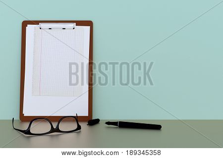classic clipboard with eyeglasses and ballpen. copy space. 3d render 3d illustration