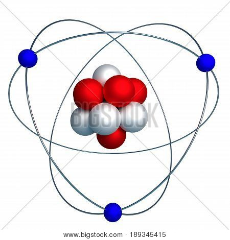 3d model of the nucleus of an atom with protons and neutrons surrounded by orbiting electrons isolated on white. 3d render 3d illustration