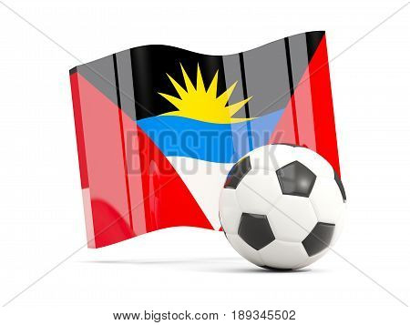 Football With Waving Flag Of Antigua And Barbuda Isolated On White