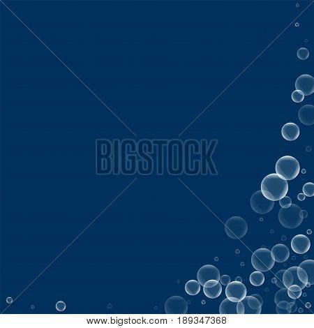 Random Soap Bubbles. Abstract Right Bottom Corner With Random Soap Bubbles On Deep Blue Background.