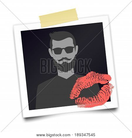 Vintage realistic photo frame with bearded man silhouette and lipstick mark. Photographic with adhesive tape. Template photo design. Romantic card for Valentines day. Vector illustration