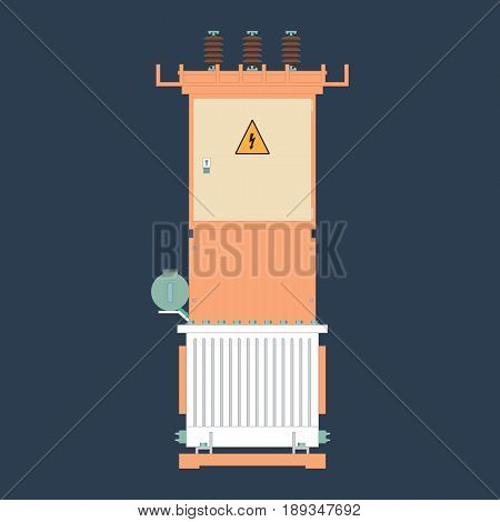 Electrical transformer and isolator. Electric substation in a flat style. Electrical Transformer booth.