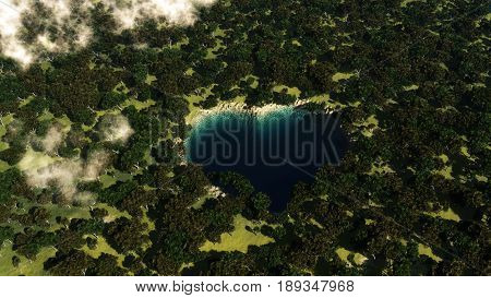 Heart shape lake seen from above between trees. 3D iilustration