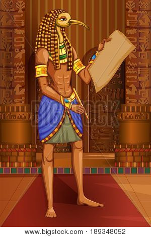 Vector design of Egyptian civiliziation King Pharaoh Horus God on Egypt palace backdrop