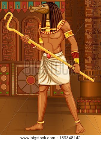 Vector design of Egyptian civiliziation King Pharaoh Sobek God on Egypt palace backdrop