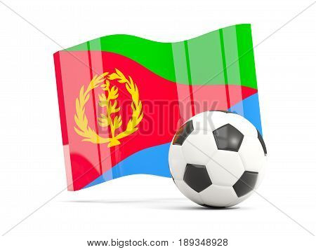 Football With Waving Flag Of Eritrea Isolated On White