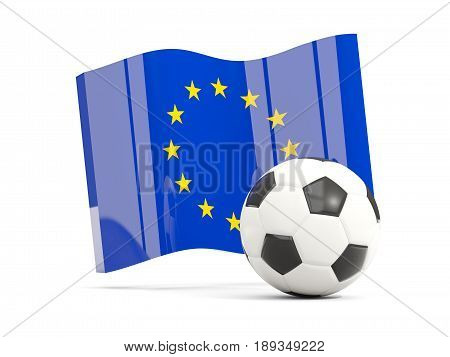 Football With Waving Flag Of European Union Isolated On White