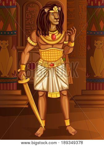Vector design of Egyptian civiliziation King Pharaoh Maahes God on Egypt palace backdrop