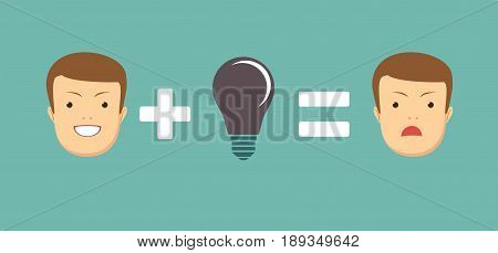 Problems Make you sad. Business concept no ideas lamps . Stock vector illustration for poster, greeting card, website, ad, business presentation, advertisement design.