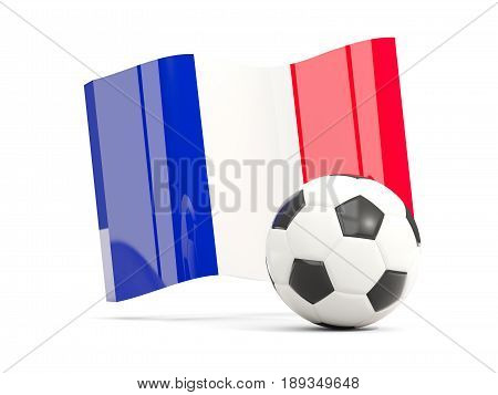 Football With Waving Flag Of France Isolated On White