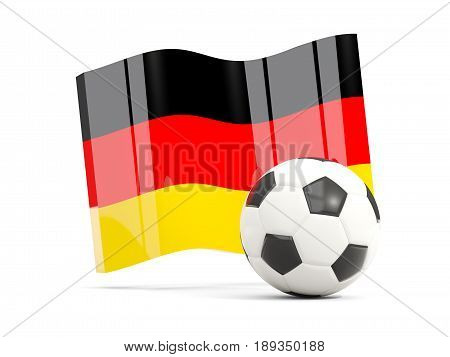 Football With Waving Flag Of Germany Isolated On White