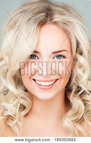 Smiling Woman Fashion Model with Blonde Hair. Blonde Beauty
