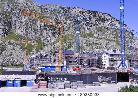 Construction Site With Cranes At Andermatt On The Swiss Alps