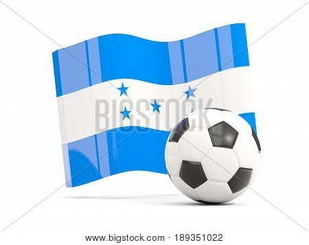 Football With Waving Flag Of Honduras Isolated On White