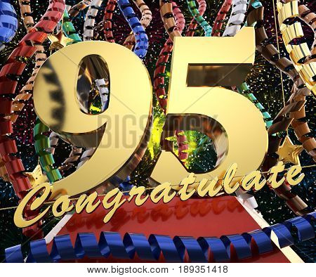 Gold number ninety five with the word congratulate. 3D illustration