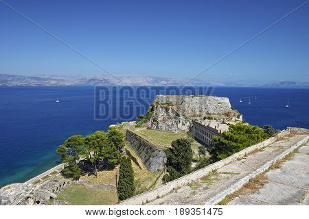 Corfu (Kerkyra) old fortress against the background of the sea and sky