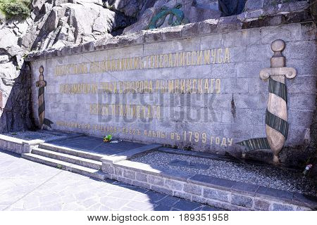 St. Gotthard, Switzerland - 10 August 2015: Monument to the Russian General Suvorov at Andermatt on mount Gotthard on the Swiss alps