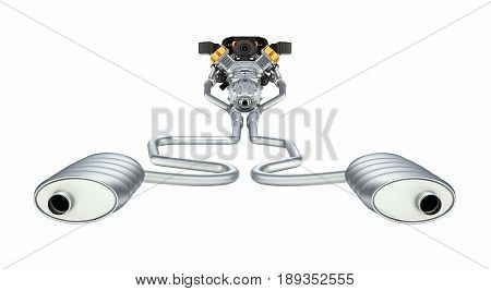 Exhaust Pipes System With Engine Back View Without Shadow On White Background 3D