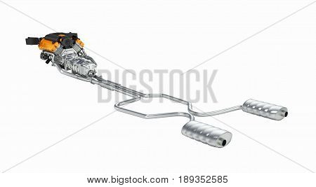 Exhaust Pipes System With Engine Without Shadow On White Background 3D Illustration