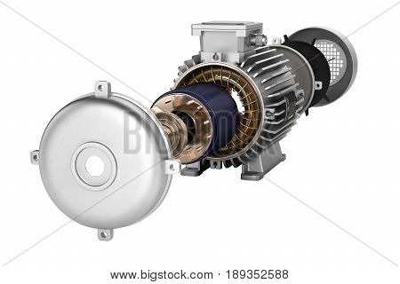 Electric Motor In Detail Without Shadow On White Background 3D