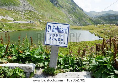 St. Gotthard, Switzerland - 10 August 2015: Lake at Gotthard pass on the Swiss alps
