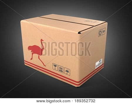 Cardboard Box Without Shadow On Black Background 3D