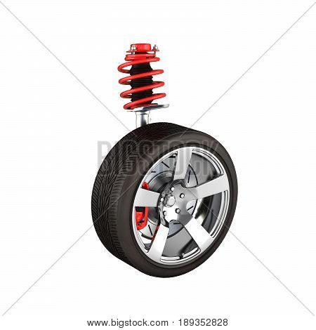 Suspension Of The Car With Wheel Perspective View Without Shadow On White Background 3D